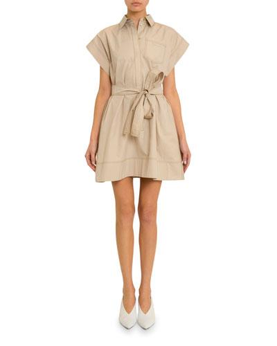 Short-Sleeve Stitched Cotton Shirtdress