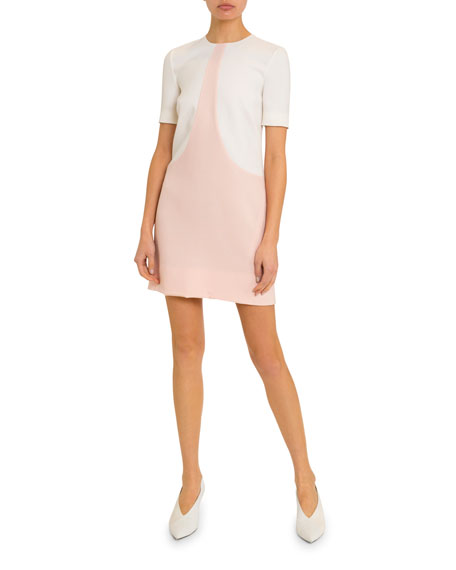 Givenchy Short-Sleeve Bicolor Shift Dress