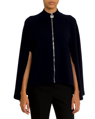 Cashmere-Wool Cape Zip-Front Sweater