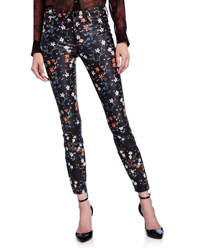 Floral-Print Leather Skinny Jeans