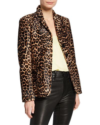 Kira Leopard-Print Calf-Hair Blazer