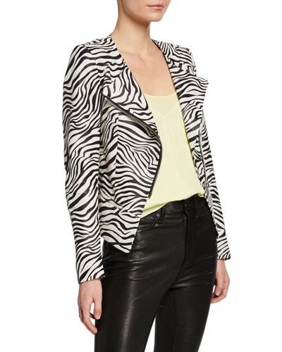 Celine Zebra Print Leather Cardi-Style Jacket