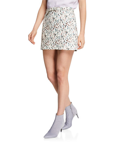 Ondine Floral Print Leather Mini Skirt