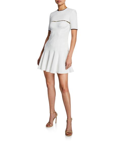 Brandon Maxwell Short-Sleeve Metallic-Stripe Drop-Waist Dress