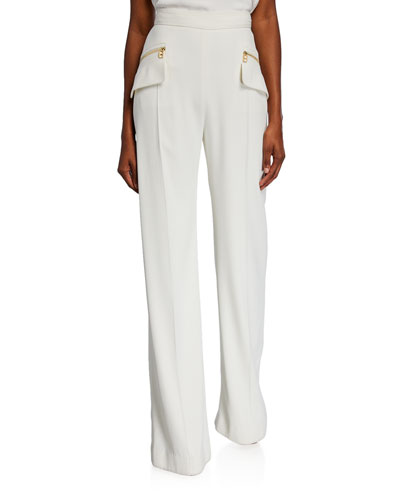 Wide-Leg Pants with Zip Details
