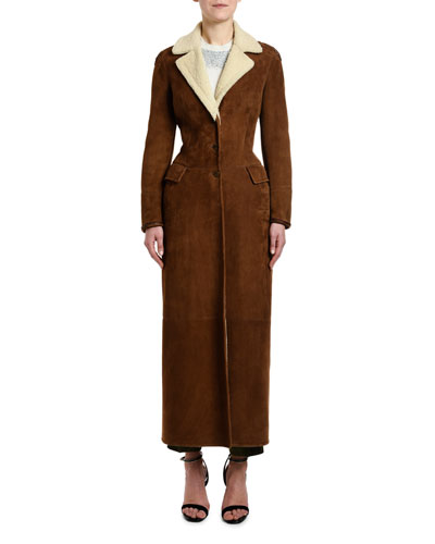Goat Suede Ankle-Length Coat