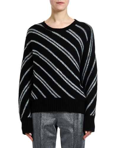 Metallic Diagonal-Striped Sweater