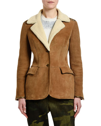 Goat-Suede Faux-Shearling Collar Coat