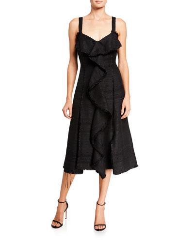 Tweed Ruffled Front Dress