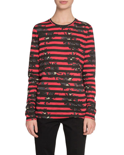 Long-Sleeve Splattered-Floral-Print T-Shirt, Red