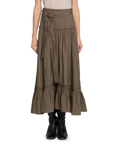 Belted Drop-Waist Maxi Skirt