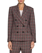 Isabel Marant Dallin Check Double-Breasted Blazer and Matching