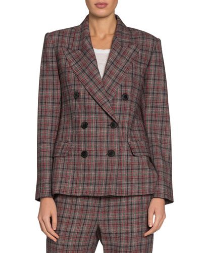 Dallin Check Double-Breasted Blazer