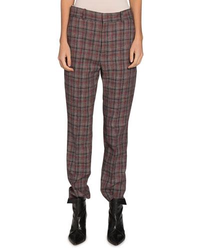 Sonnel Check Flat-Front Pants