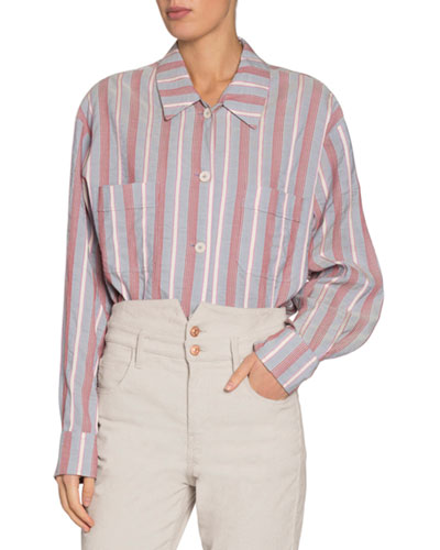Venice Striped Long-Sleeve Button-Down Shirt