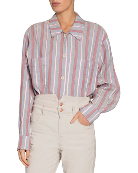 Isabel Marant Venice Striped Long-Sleeve Button-Down Shirt