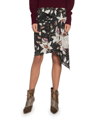 Roly Tiered Asymmetrical Printed Skirt