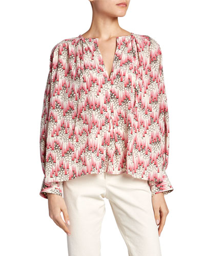 Amba Long-Sleeve Abstract Blouse