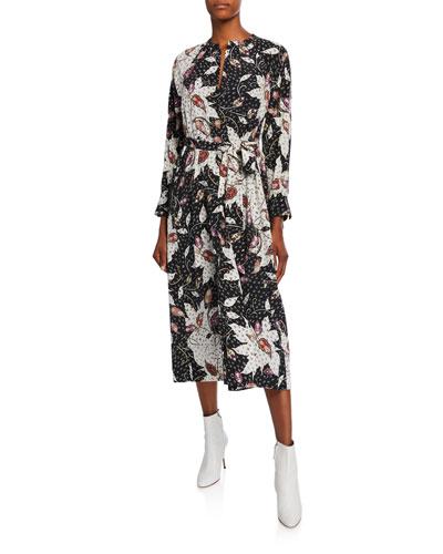 Lympia Abstract Silk Midi Dress