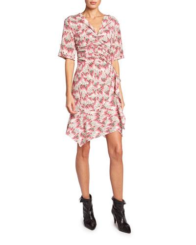 Arodie Short-Sleeve Abstract-Print Dress