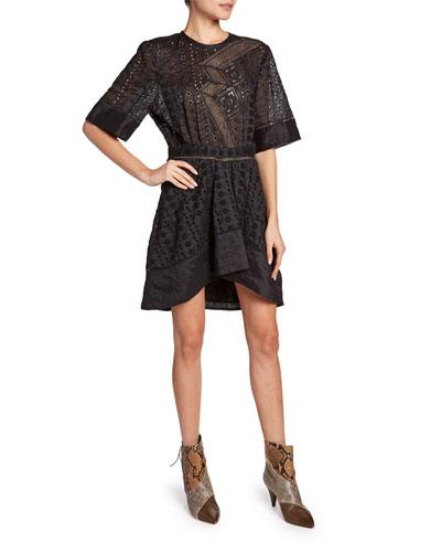 Qadley Short-Sleeve Waffle Lace Dress