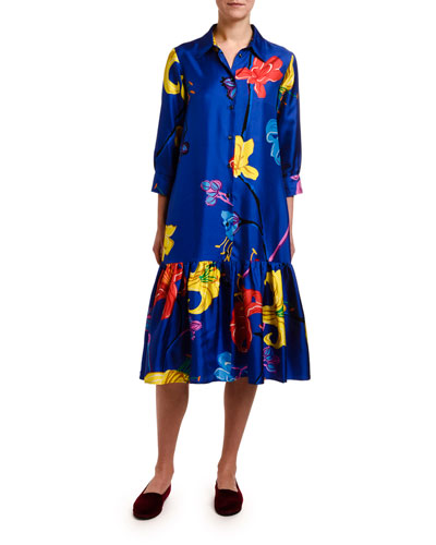 Getting My Croissant Printed Silk Shirtdress