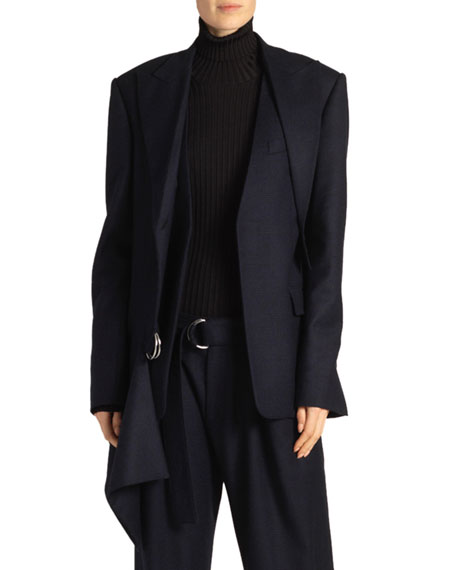 Proenza Schouler Draped Flannel Blazer, Blue/Black