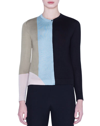 Indian Summer Colorblock Cashmere-Silk Intarsia Cardigan