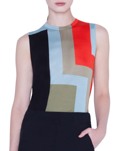 Colorblock Indian Summer Intarsia Cashmere/Silk Tank