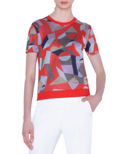 Cashmere-Silk Indian Summer Jacquard Short-Sleeve Sweater