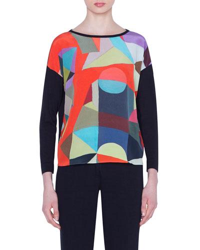 Indian Summer Print Silk Sweater