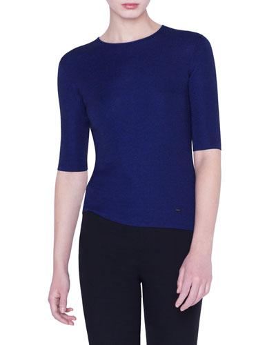 Cashmere-Silk Fil a Fil 1/2-Sleeve Sweater