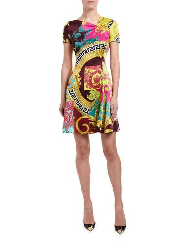 Short-Sleeve Multicolored Dress