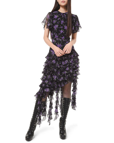 Floral-Print Georgette Tiered Ruffle Dress