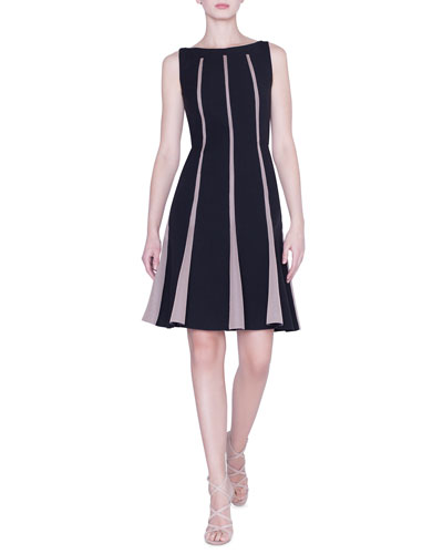 Sleeveless Grid-Striped Wool Dress