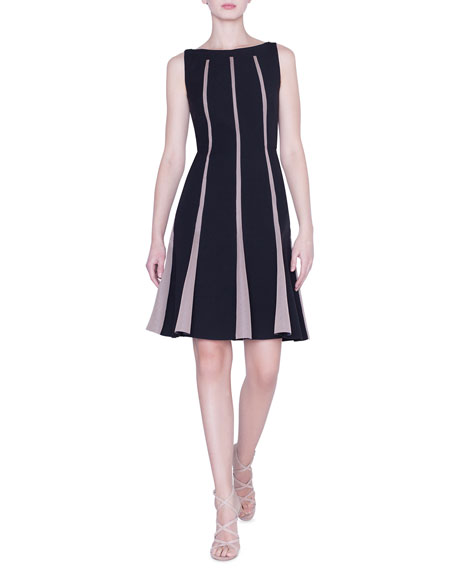 Akris Sleeveless Grid-Striped Wool Dress