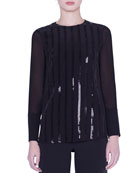 Akris Sequined Silk Crepe Blouse and Matching Items