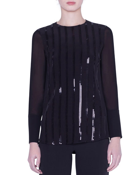 Akris Sequined Silk Crepe Blouse