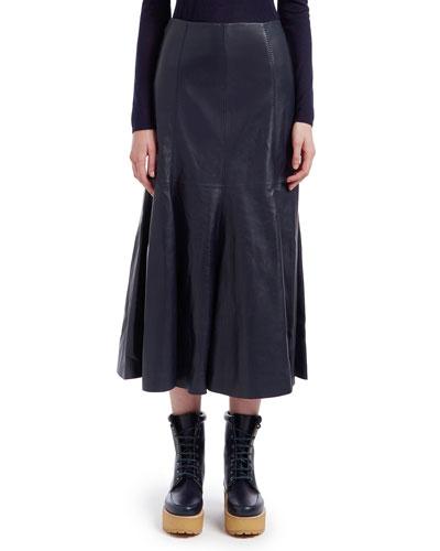 Amy Leather Flared Midi Skirt