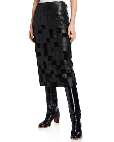 Kiara Leather Patchwork Pencil Skirt