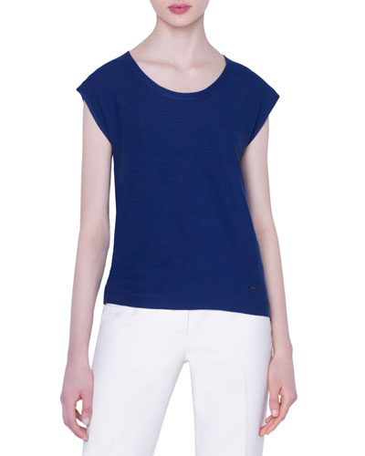 Cap-Sleeve Cotton Fine Pique Sweater