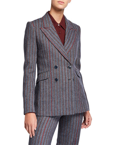 Angela Double-Breasted Herringbone Blazer