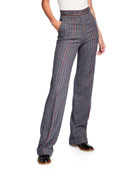 Gabriela Hearst Shipton Herringbone Stretch Wool-Cashmere Trousers