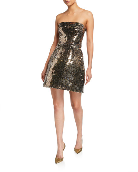 Monique Lhuillier Animal Print Sequined Strapless Dress