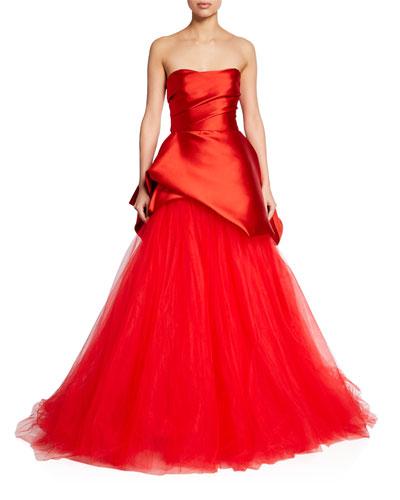 Satin & Tulle Strapless Asymmetric Gown