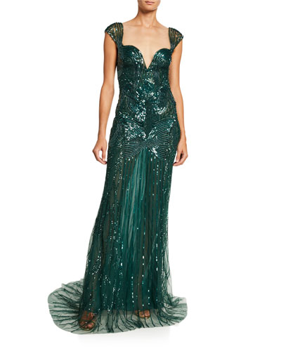 Sequin-Embroidered Chiffon Gown