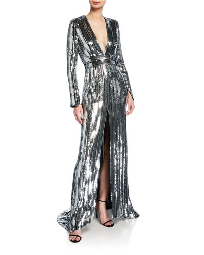 Sequin-Striped Long-Sleeve Deep V Gown