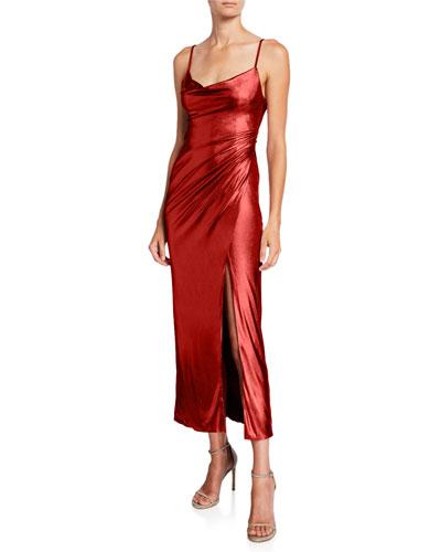 Sequin V-Back Midi Slip Dress