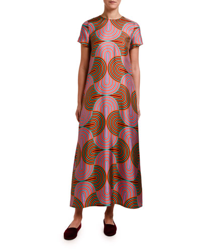 Short-Sleeve Silk Maxi Dress