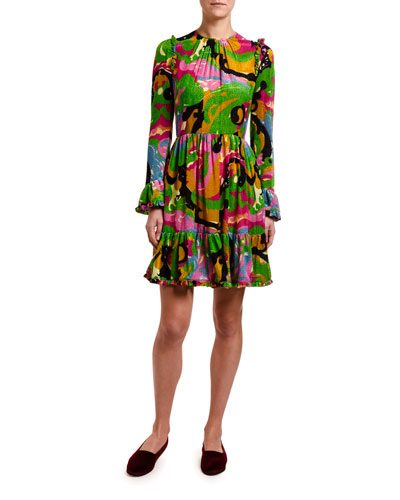 Long-Sleeve Abstract Floral Devore Dress